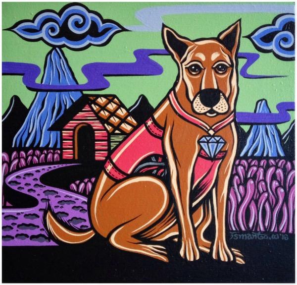Shio off series dog acrylic on canvas, 30 x 30cm