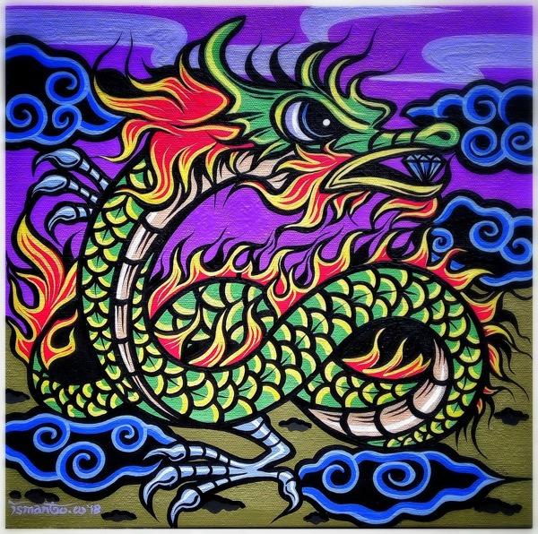 Shio off series dragon, acrylic on canvas, 30 x 30cm