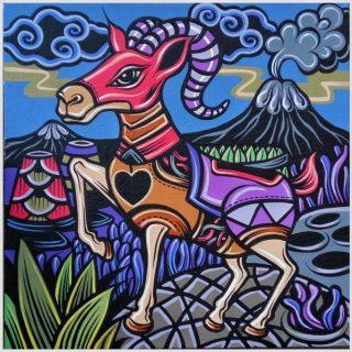 Shio off series goat, acrylic on canvas, 30 x 30cm