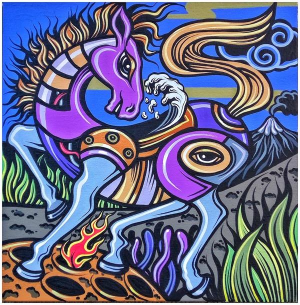 Shio off series horse, acrylic on canvas, 30 x 30cm