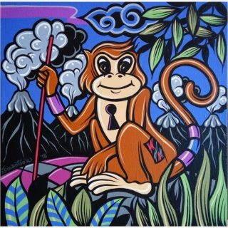 Shio off series monkey acrylic on canvas, 30 x 30cm