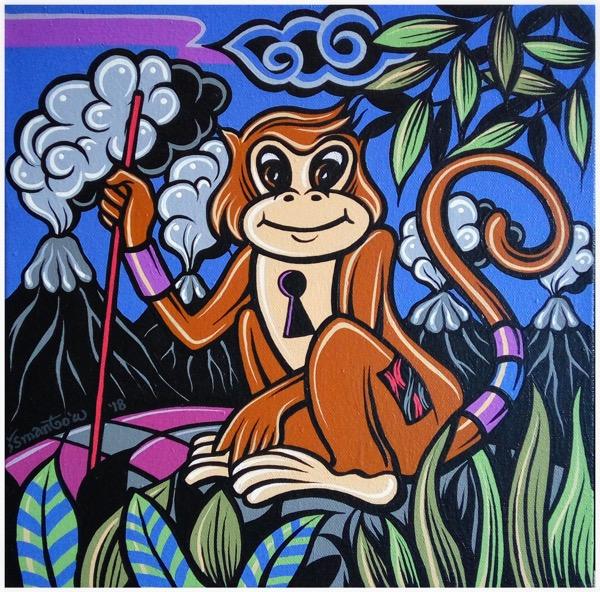 Shio off series monkey acrylic on canvas, 30 x 30cm