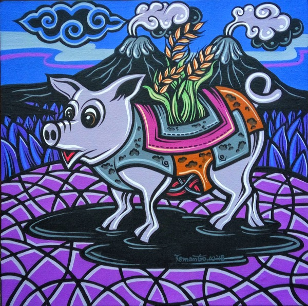 Shio Off Series - Pig, acrylic on canvas, 30 x 30cm