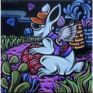 Shio off series rabbit, acrylic on canvas, 30 x 30cm