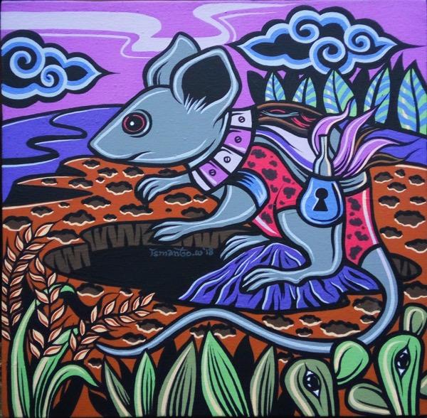 Shio Off Series - Rat, acrylic on canvas, 30 x 30cm