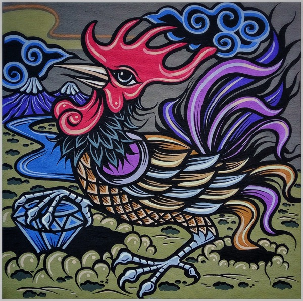 Shio off series rooster, acrylic on canvas, 30 x 30cm