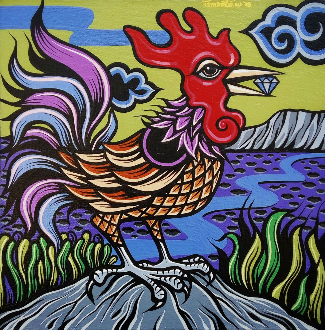 Shio Off Series - Rooster 2, acrylic on canvas, 30 x 30cm