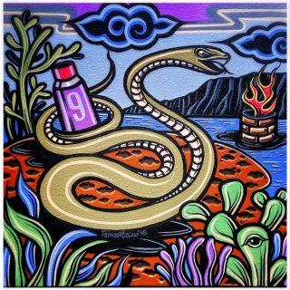 Shio off series snake, acrylic on canvas, 30 x 30cm