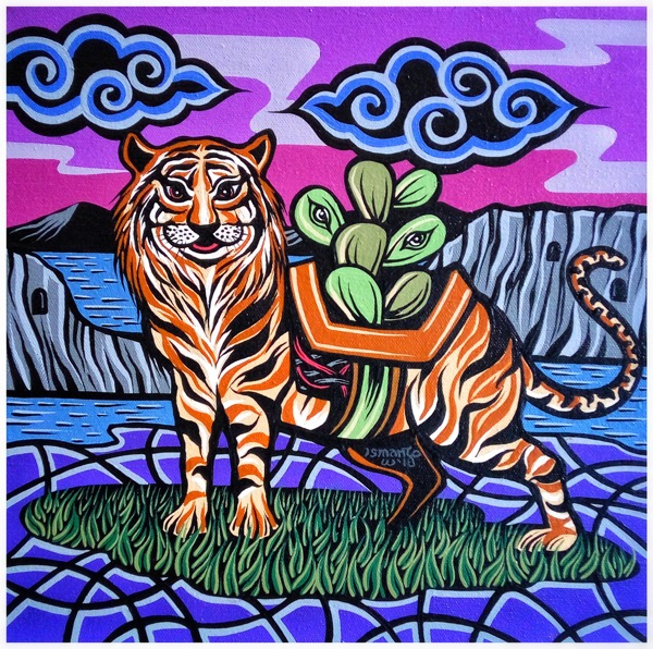 Shio off series tiger acrylic on canvas, 30 x 30cm