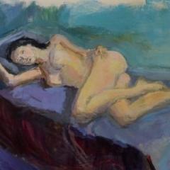 Aimee dreaming, oil on board, 56 x 40cm (framed)