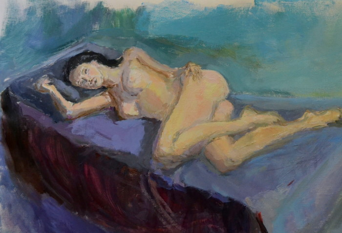 Aimee Dreaming, oil on board, 90 x 56cm (incl. frame)