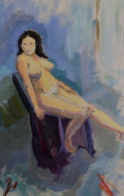 Aimee on Chair oil on board, 51 x 76cm (framed)