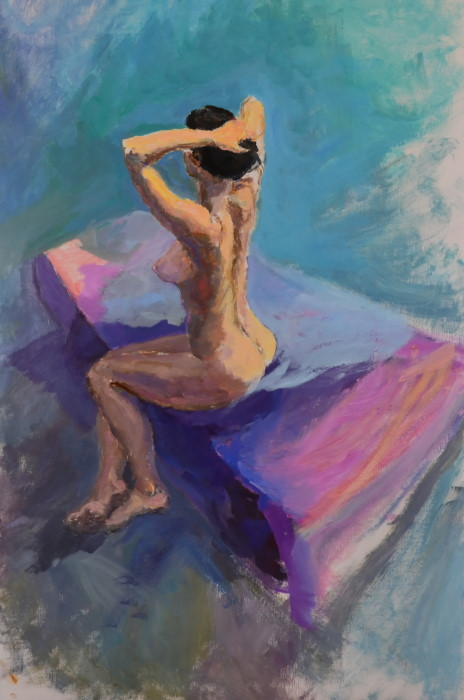 Aimee on Bed, oil on board, 57 x 85cm (incl. frame)