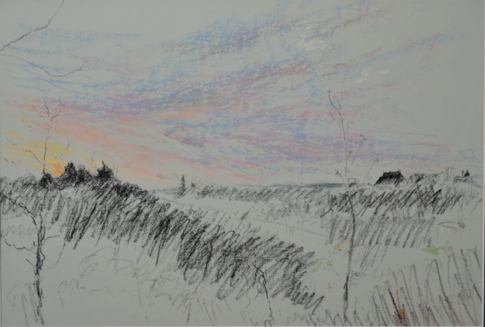 Argenton dawn on light blue, pastel on paper, framed, 46 x 36cm