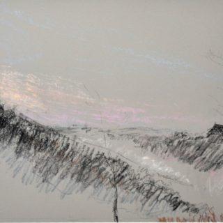 Argenton dawn on light grey, pastel on paper, 46 x 36cm