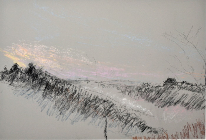 Argenton dawn on light grey, pastel on paper, 46 x 36cm