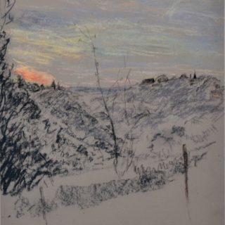 Argenton dawn with roof, pastel on paper, 36 x 46cm