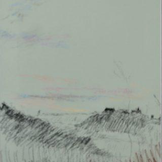 Argenton dawn with school on lightblue, pastel on paper, 36 x 46cm