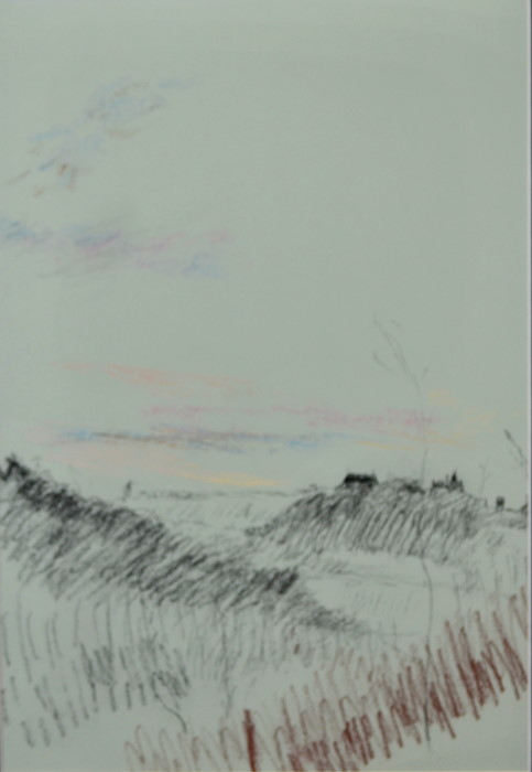 Argenton dawn with school on lightblue, pastel on paper, 36 x 46cm