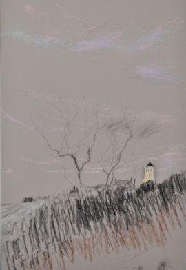 Argenton dawn with tower, pastel on paper, 36 x 46cm