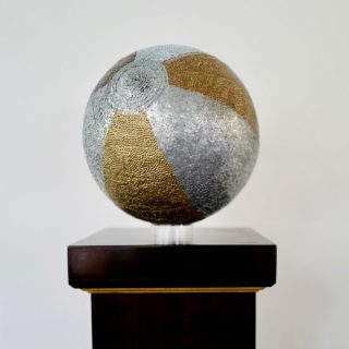 Beachball, copper brass, bronze and zinc nails in pine, 30cm round