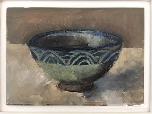 Blue bowl, oil on board, 26 5 x 31 5cm (incl frame)