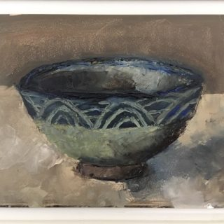 Blue Bowl, oil on gesso panel, 26 5 x 31 5cm (incl frame)