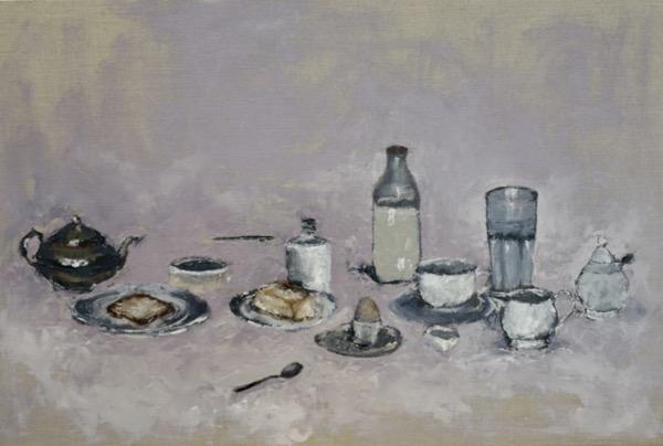 Breakfast, oil on linen board, 51 x 77cm