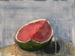 Half watermelom, oil on board, 25 5 x 33cm (incl frame)