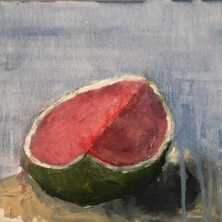 Half Watermelon, oil on gesso panel, 25.5 x 33cm (incl frame)