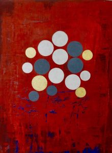 Indivisible oil and metal flake on linen mounted on board 30 5 x 40 5cm