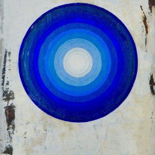 Intra, blue oil on linen, 30 5 x 40cm