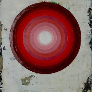 Intra, red oil on linen, 30 5 x 40cm