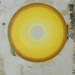Intra, yellow oil on linen, 30 5 x 40cm