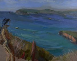 Jenna at south head, oil on board, 66 x 55cm (incl. frame)