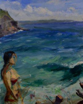 Jenna at Whale Beach, oil on linen, 44 x 54cm (incl. frame)