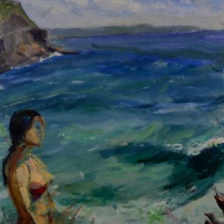 Jenna at Whale Beach, oil on linen, 44 x 54cm (incl. frame)