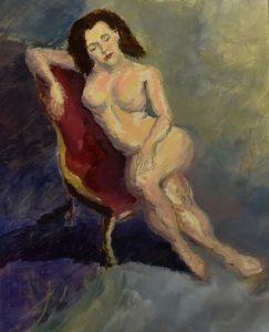 Kl in red chair, oil on linen, 64 x 53cm (incl frame)