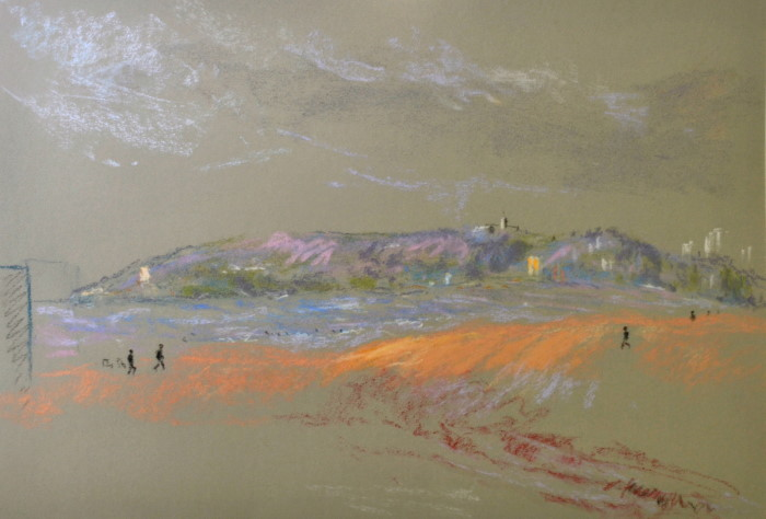 Manly Beach Dawn, pastel on paper, framed, 57 x 46cm