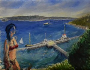 Maria with bigship, oil on linen, 56 x 80cm