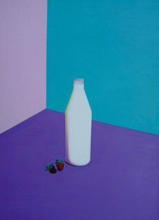 Milk and Strawberries, oil on linen, 110 x 80 (incl frame)