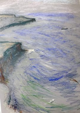North Head 2 with Ferry, pastel on paper, 50 x 37cm (incl frame)