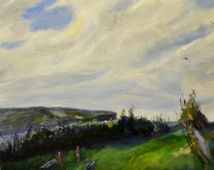 North head from middle head, oil on stretched linen, 72 x 56cm