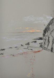 Northern beaches dawn, pastel on paper, framedm 36 x 46cm