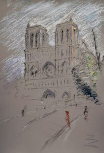 Notre dame 1, pastel on paper, 50 x 37cm (incl frame)