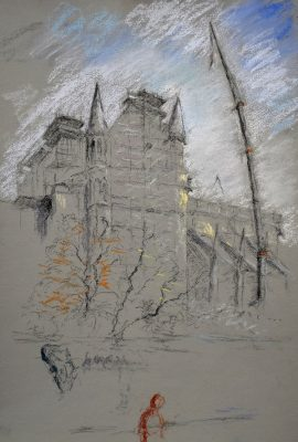 Notre Dame 2, pastel on paper, 50 x 37cm (incl frame)