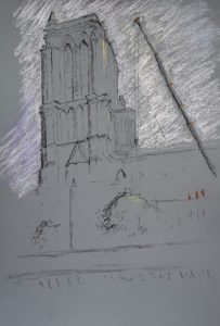 Notre dame 3, pastel on paper, 50 x 37cm (incl frame)