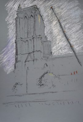 Notre Dame 3, pastel on paper, 50 x 37cm (incl frame)