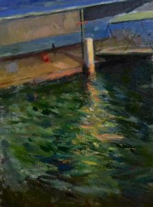 Old wharf, cremorne, oil on stretched linen, 44 x 54cm