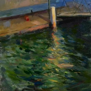 Old Wharf, Cremorne, oil on linen, 34 x 54cm (incl. frame)